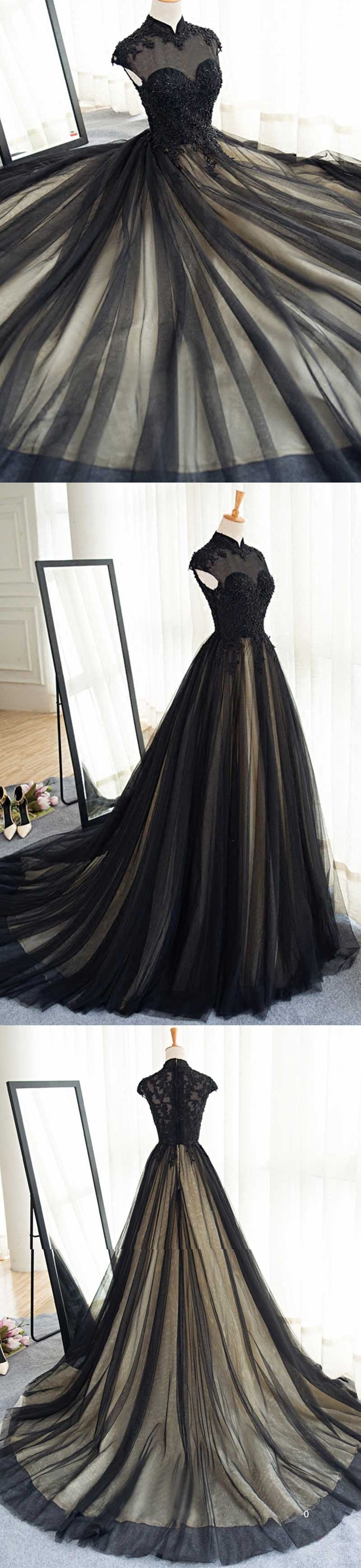5c8bc471ed8 Black Prom Dresses High Neck Sweep Brush Train Rhinestone Prom Dress Evening  Dress JKL394 annapromdress  prom  promdress  evening  eveningdress  dance  ...
