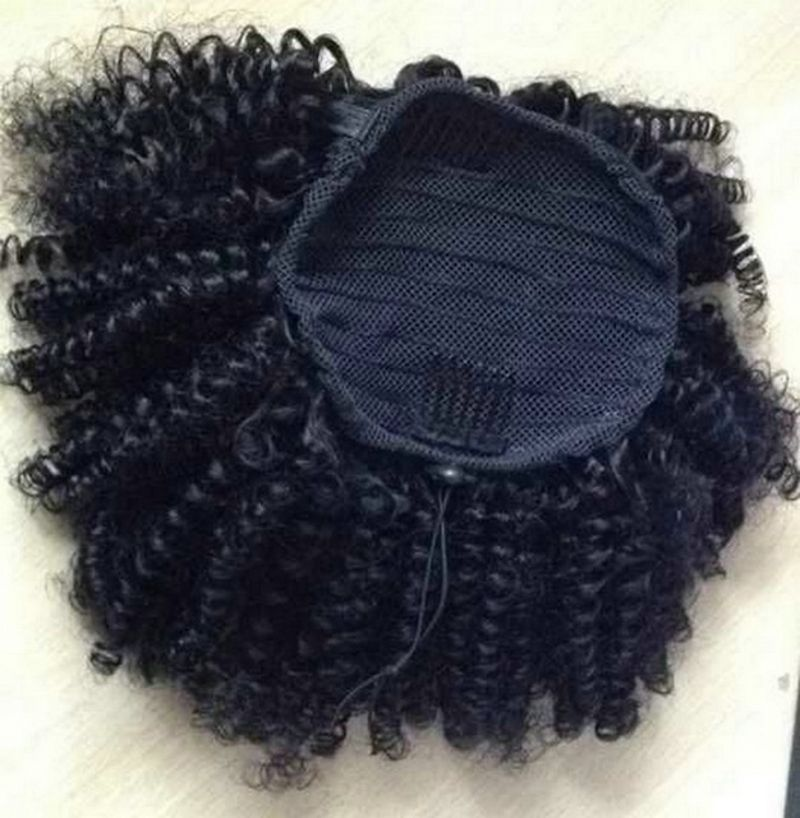 Afro kinky curly ponytail human hair extension drawstring pony afro kinky curly ponytail human hair extension drawstring pony tail clip in brazilian virgin hair pmusecretfo Image collections