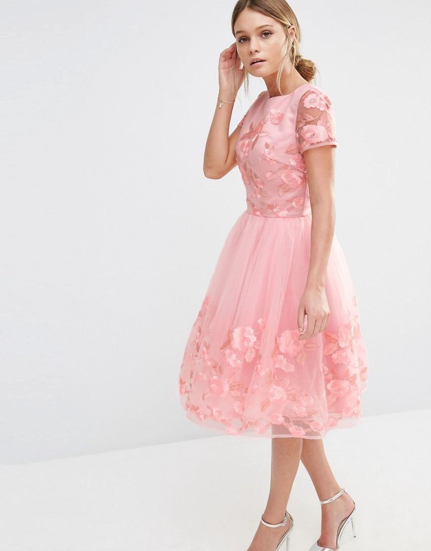 Chi Chi London | Chi Chi London Midi Dress with 3D Floral Applique ...