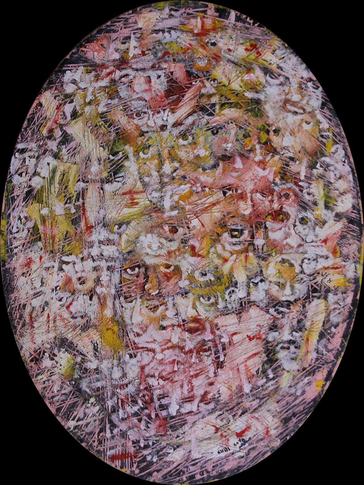 UALALLA - EINE TRANSLITERATION  Öl auf Leinwand  2010  60x80cm oval  von Stefan Kubicka  www.stefankubicka.at