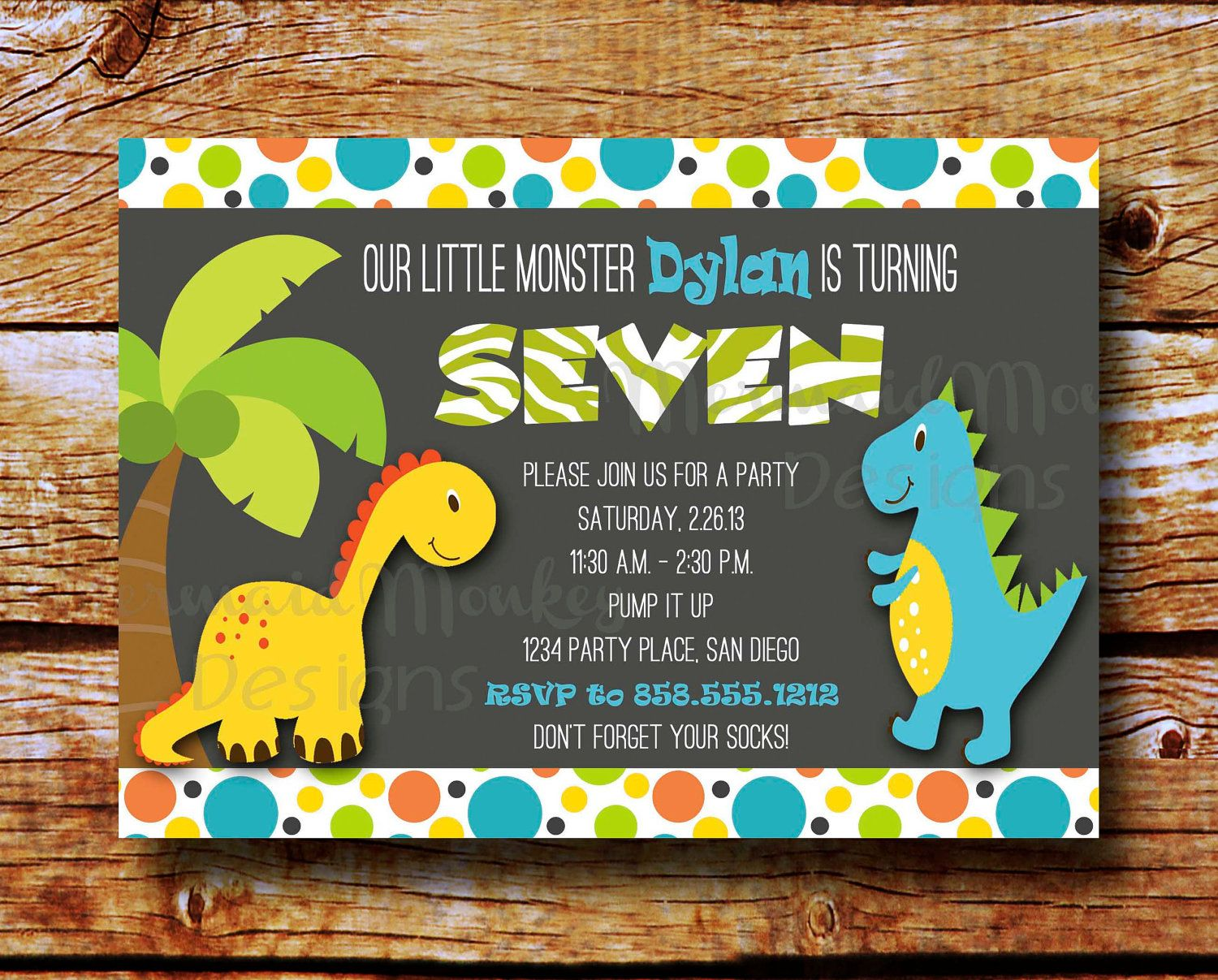 ELF SALE Dinosaur Invitation - Birthday Party Invitation - Dino ...