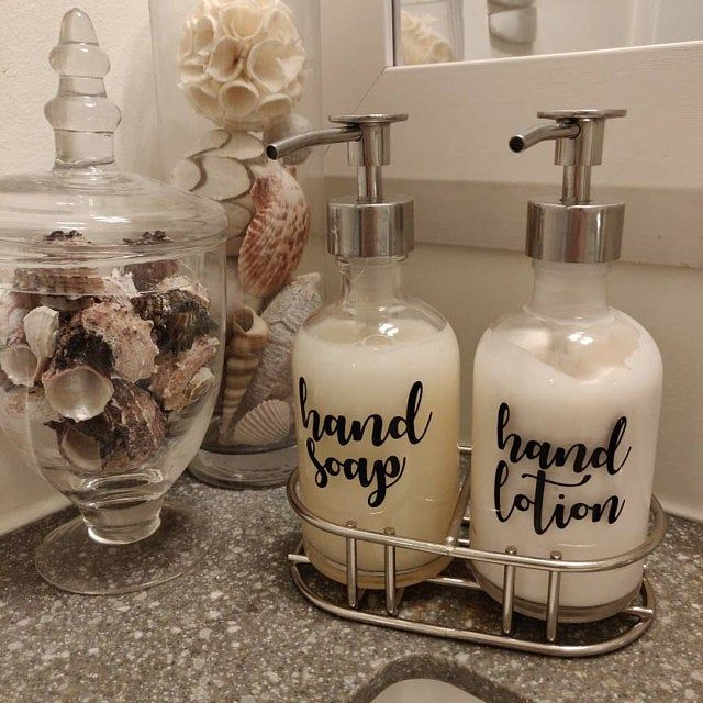 Photo of Recycled Glass Soap Dispenser with Shiny Gold Metal Soap Pump