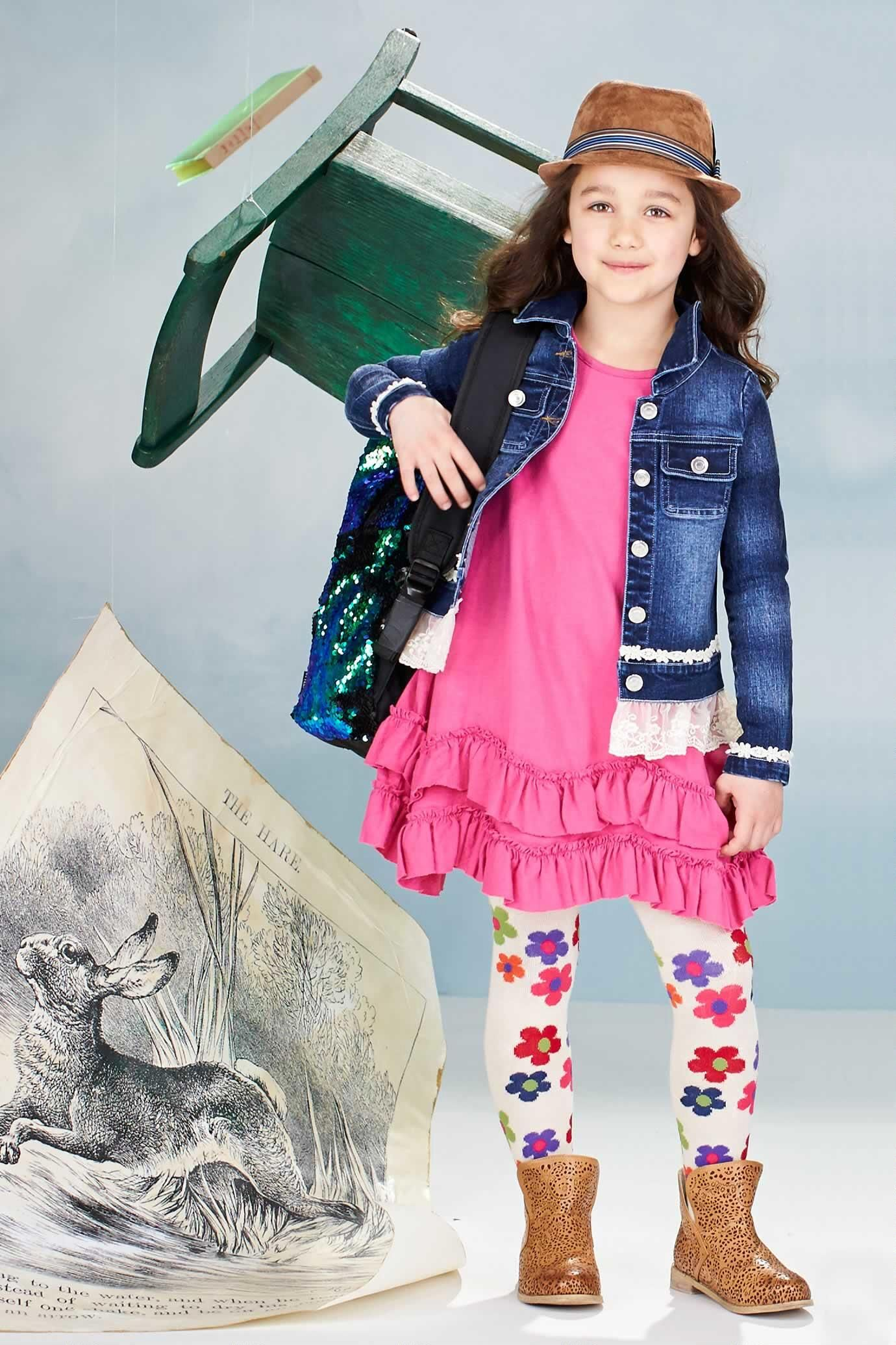 73c210d0e434 Add some fun to this pink scalloped ruffle dress with colorful leggings & a  jean jacket. Cute back to school outfit for your little girl!