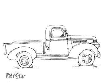 Instant Download Vintage Truck Printable Coloring Page With