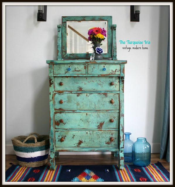 The Turquoise Iris Turquoise Heavily Distressed Antique Dresser Furniture Pinterest