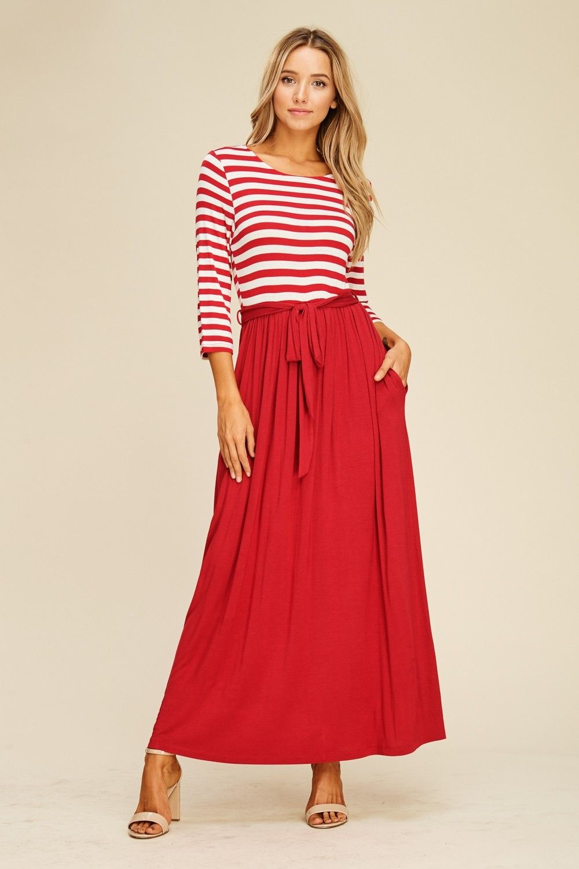 445b237e425 Contrast Stripe Waist Tie Maxi Dress Style  D5388 Knit dress featuring  stripe top