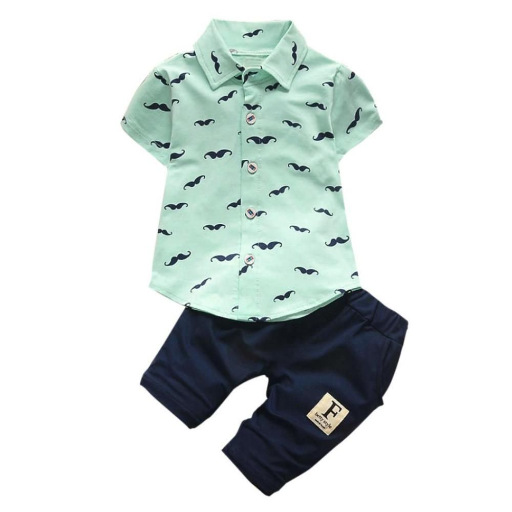 Summer Baby Boys Sailboat Clothes Suit Newborn T-Shirts Shorts Children Outfits
