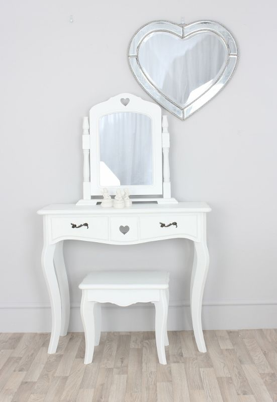 Valentine Scandi Girls White Dressing Table Swing Mirror Stool Set