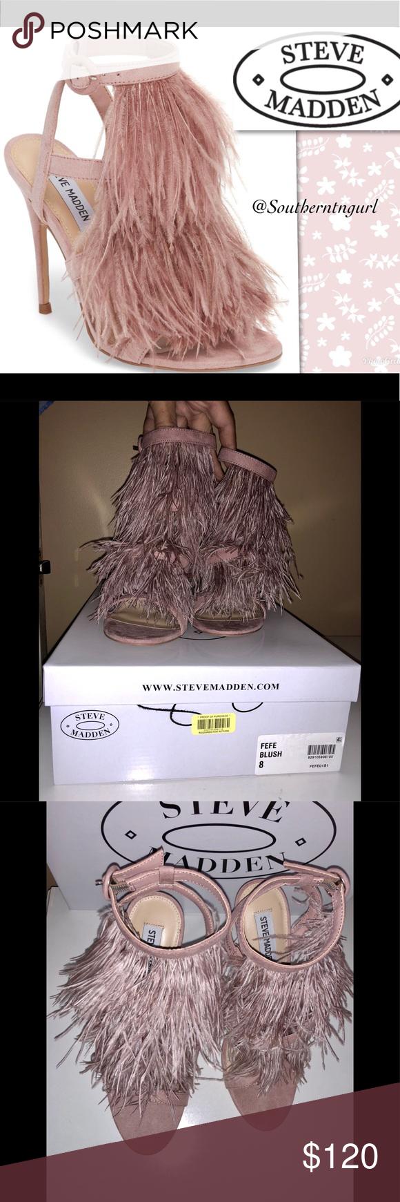 "b97f77675d8 NWT💜STEVE MADDEN💜""FeFe"" Feather Sandals Heels NWT💜STEVE MADDEN ..."