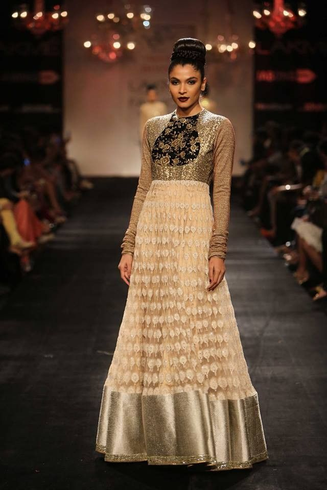 Beige Color Floor Length Designer Anarkali Dress Nakkashi ...