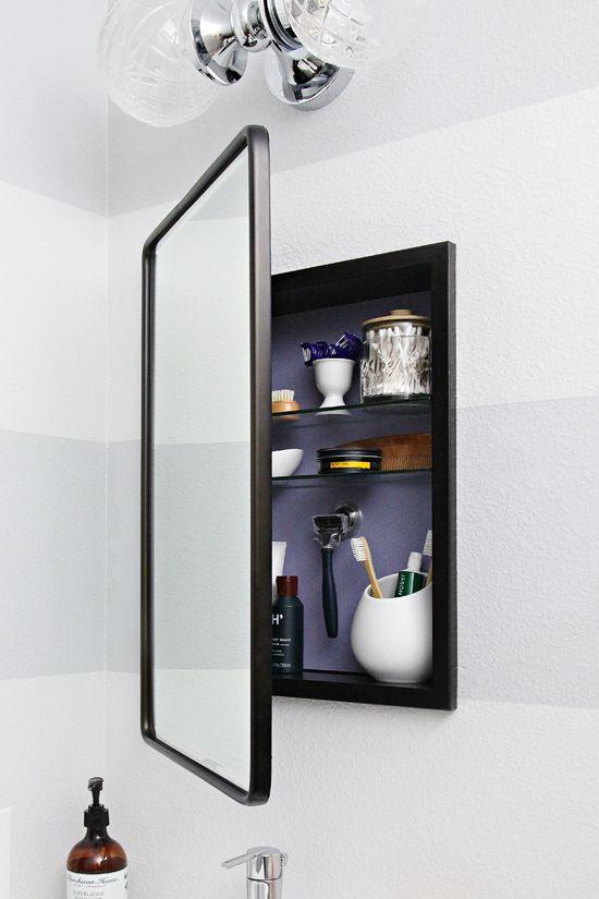 25 Space Saving Storage With An Organized Medicine Cabinet Bathroom Mirror Storage Bathroom Mirror Design Bathroom Mirror Cabinet