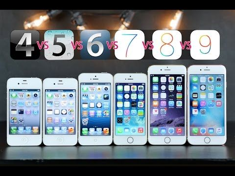 Iphones Compared On Original Ios Versions Ios 4 Vs 5 Vs 6 Vs 7 Vs 8 Vs 9 Apple Products Iphone Iphone 4