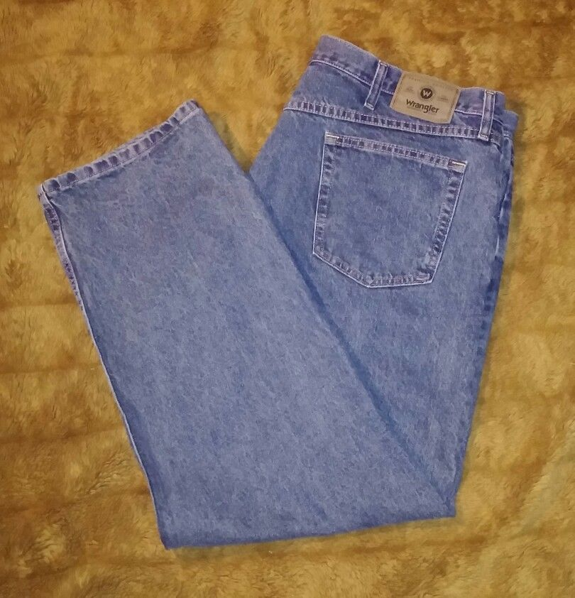 a683931d Wrangler Mens Size 42x30 Jeans Denim Blue Relaxed Fit 97601VR Medium Wash  Cotton #Wrangler #Relaxed