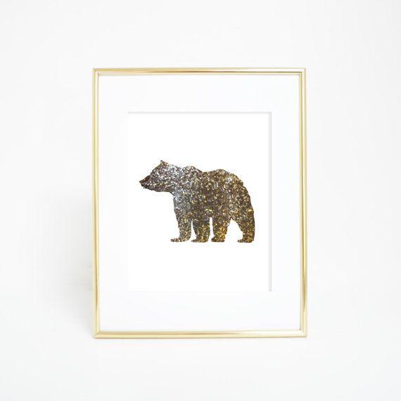 Bear Print Downloadable Art Gold Bear Gold by PrintsbyJettyHome