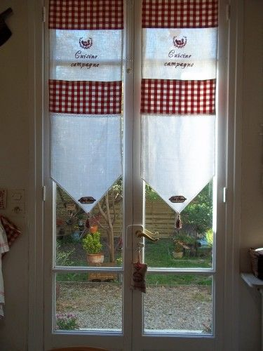 Cuisine Vichy Rouge Broderie Lin Curtains Diy Shades