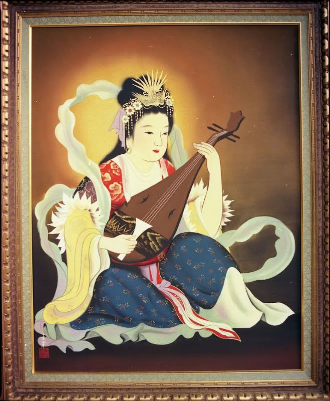 "Benzaiten, or Benten, is the special patroness of the island of Enoshima and the patron saint of the Geishas.  She is a a goddess of all that flows.  It is She who looks after rivers, music, love, happiness, knowledge, and words as well as the sea in her aspect as Benten.   Her name means ""the deity of talent and eloquence."" She brings happiness, wealth, and joy."