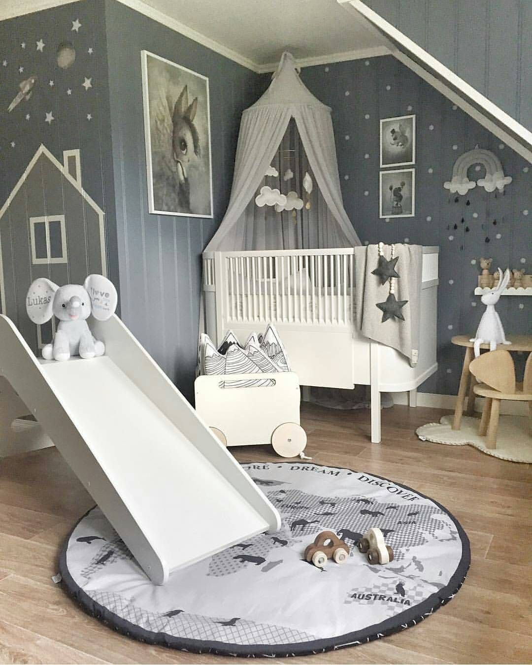 Babyzimmer In Grau Und Blau