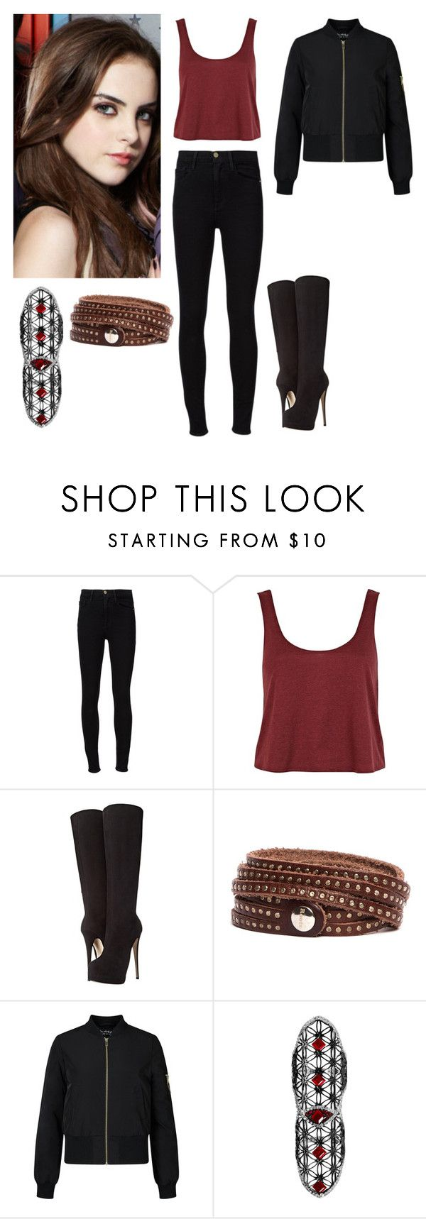 """""""Jade West"""" by charmedgreys ❤ liked on Polyvore featuring Frame, River Island, Giuseppe Zanotti, Roots, Miss Selfridge and Dionea Orcini"""