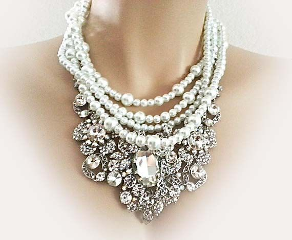 Pearl Rhinestone Bridal Jewelry Set by SukranKirtisJewelry on Etsy