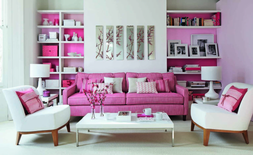 Interior Decorationcontemporary Pink Living Rom With Pink Sofa Gorgeous Pink Living Room Furniture Decorating Design