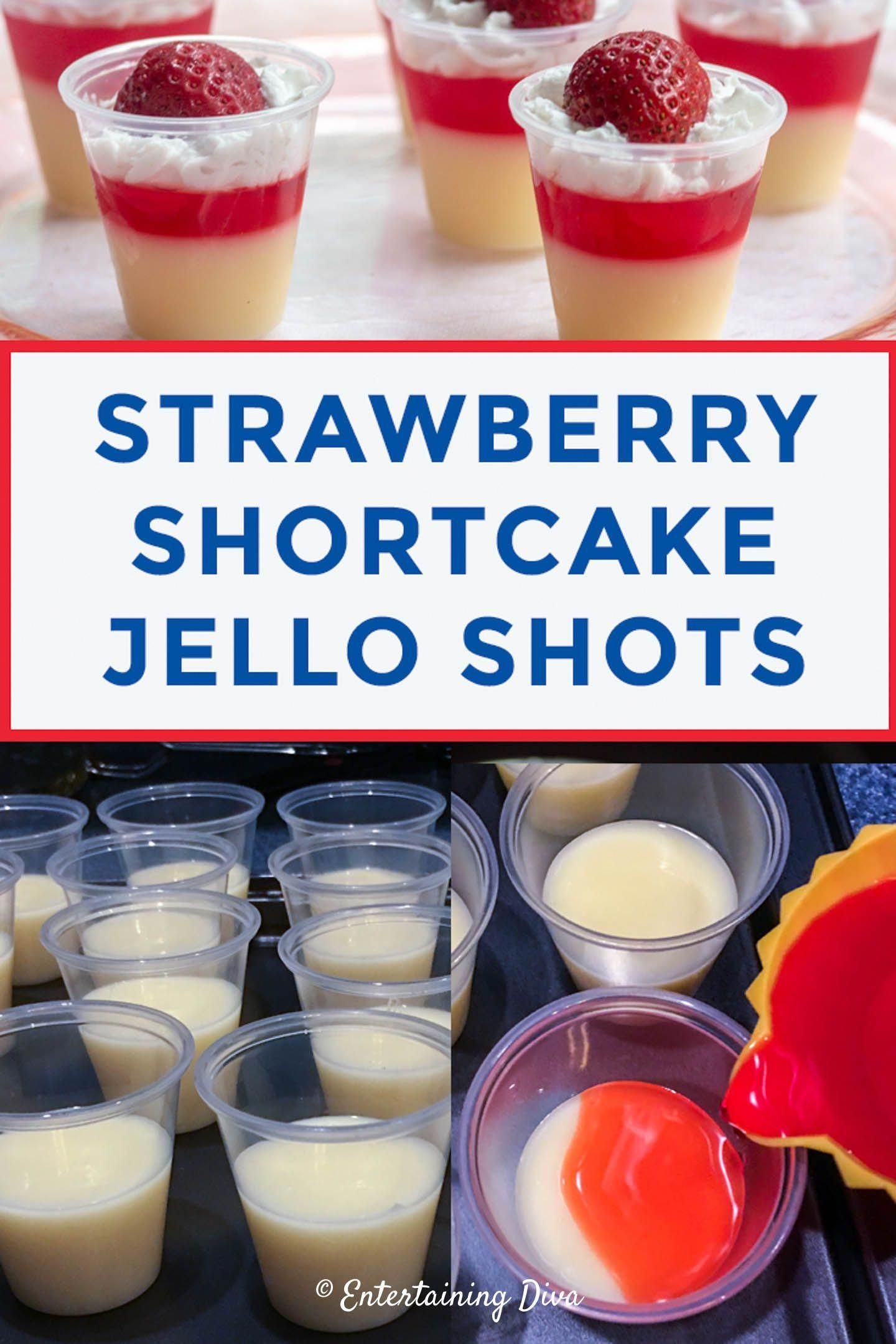 I love these strawberry shortcake jello shots made with vanilla pudding, strawberry pucker and cake vodka. They taste amazing and are perfect for a birthday party (especially in the summer). #entertainingdiva #cocktails #drinks #drink #recipe #partyideas #jelloshots #parties #strawberryshortcake #jelloshotsvodka