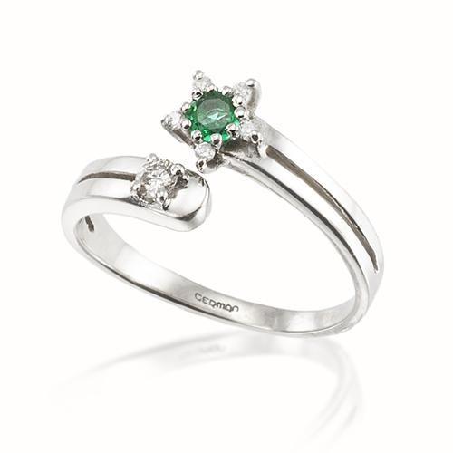 4a5543d8d3f2 Anillo TÚ y YO Esmeralda Sortija de oro blanco 18 kilates montada con un  diamante talla