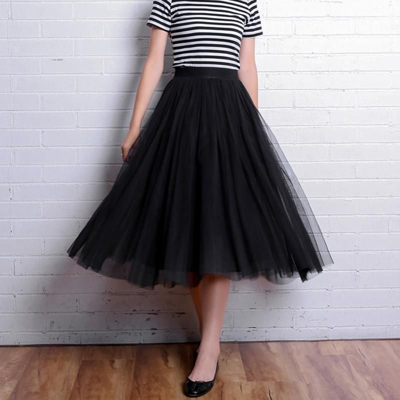 618b0758f5 Spring Summer Vintage Skirts Women Elastic High Waist Tulle Mesh Skirt Long Pleated  Tutu Skirt