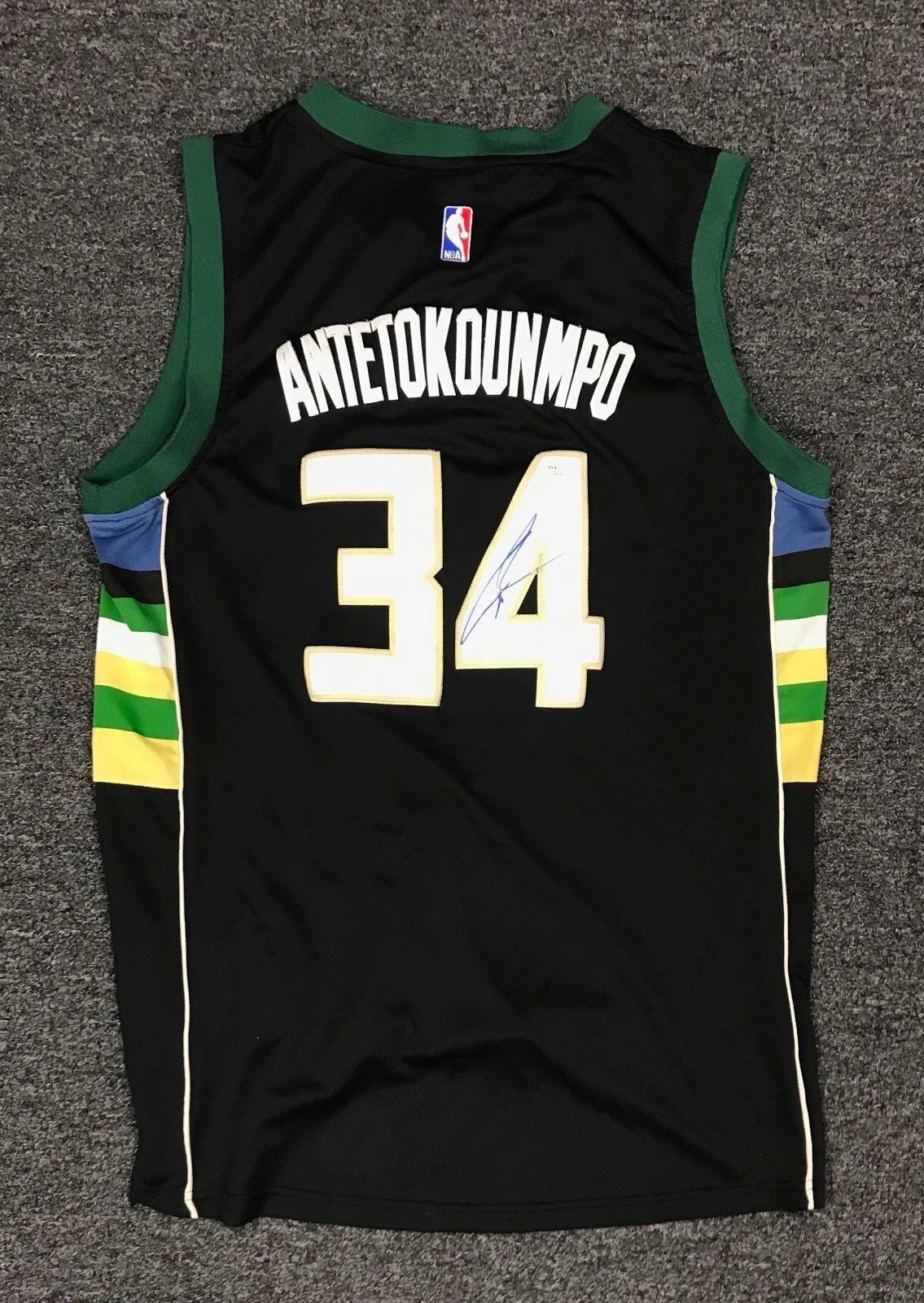 Giannis Antetokounmpo  34 Signed Bucks Jersey AUTO Sz L Adidas JSA COA   Basketball 143393652
