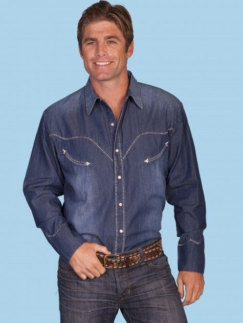 35b24b7d1ae Scully® Mens Denim Long Sleeve Snap Smile Pocket Western Shirt