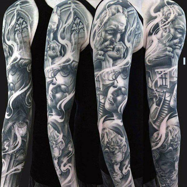Female Portrait Unique Mens Full Sleeve Tattoo Ideas ...