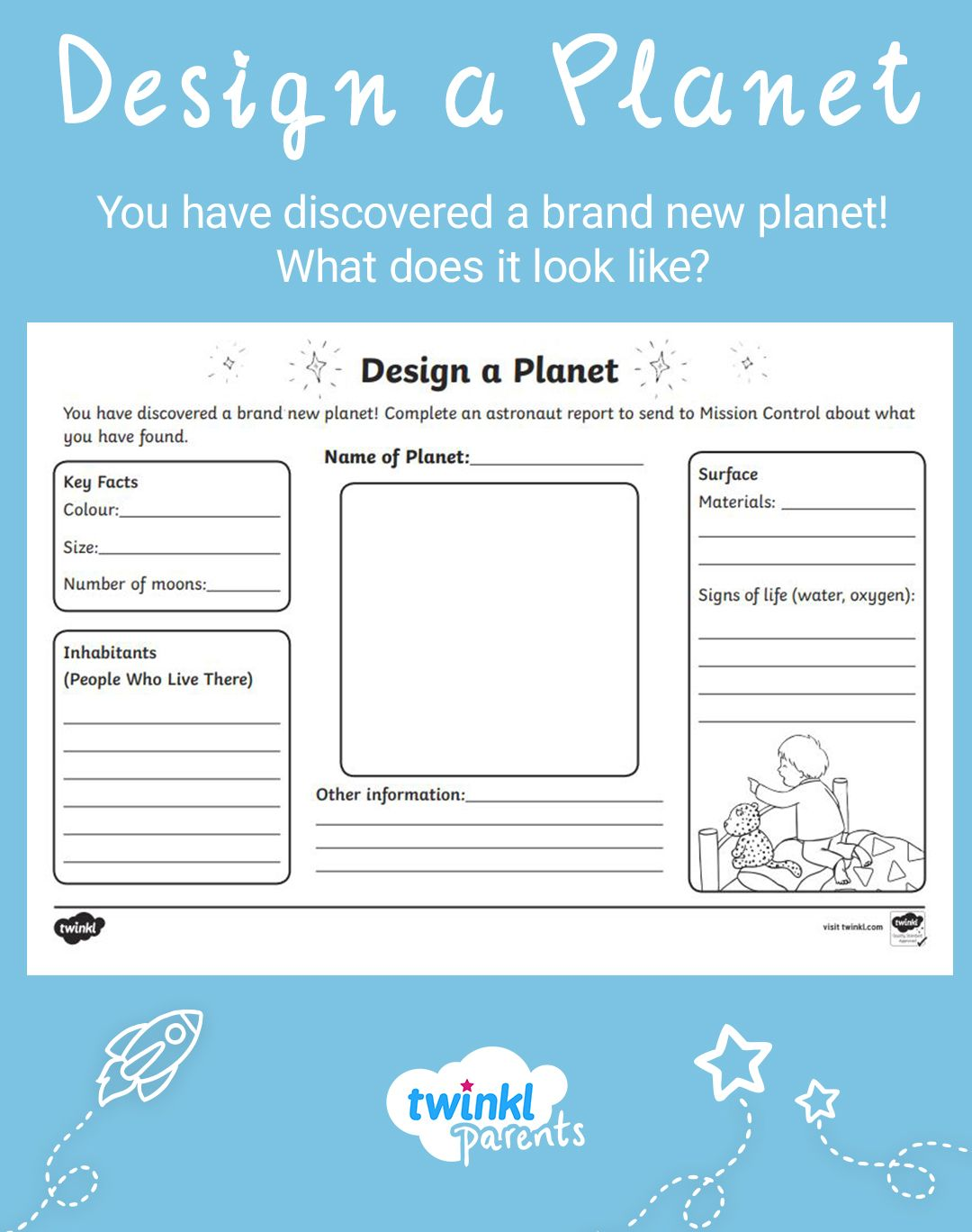 Design Your Own Planet Worksheet Planets Activities Space Activities For Kids Planet For Kids [ 1368 x 1080 Pixel ]