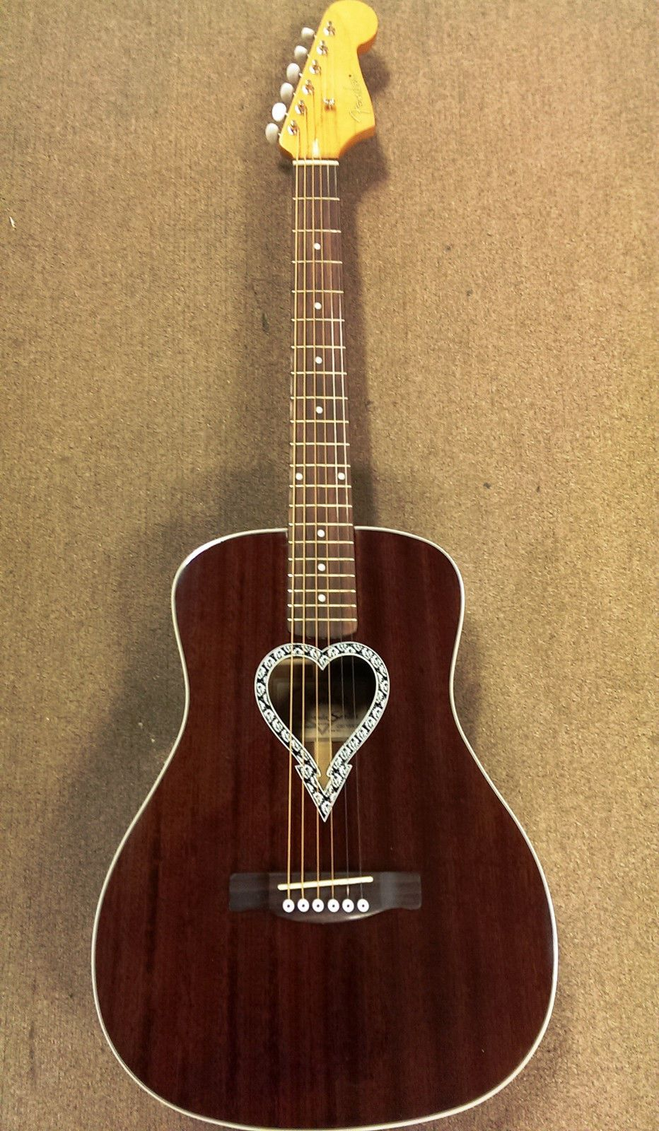 Fender Alkaline Trio Malibu Acoustic Guitar Mahogany Parlor Size Heart Rosette Acoustic Guitar For Sale Alkaline Trio Guitar