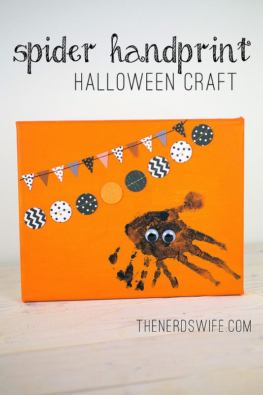 Spider Handprint Halloween Craft Spider, Craft and Halloween ideas - preschool halloween decorations