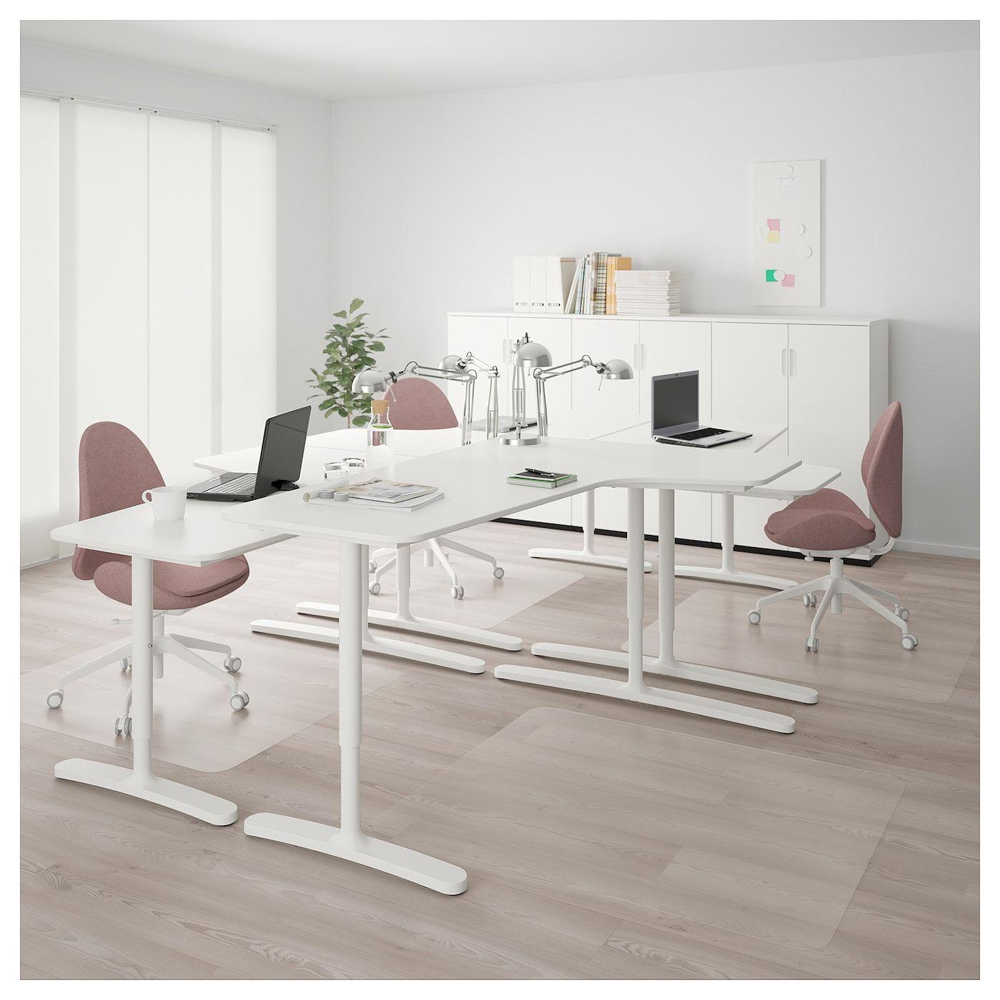 """BEKANT Desk combination white 126x86 5/8 """" (320x220 cm"""