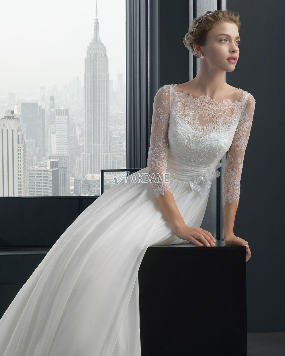 Bodenlanges anständiges romantisches luxus Brautkleid mit ...
