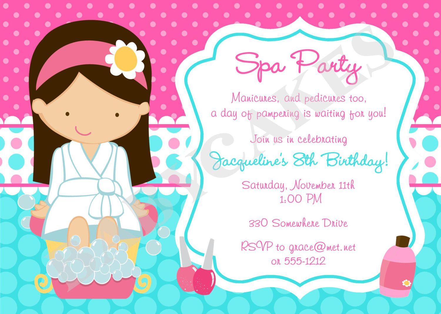 Spa Party Invitation DIY Print Your Own Choose your girl – Diy Girl Birthday Party Invitations
