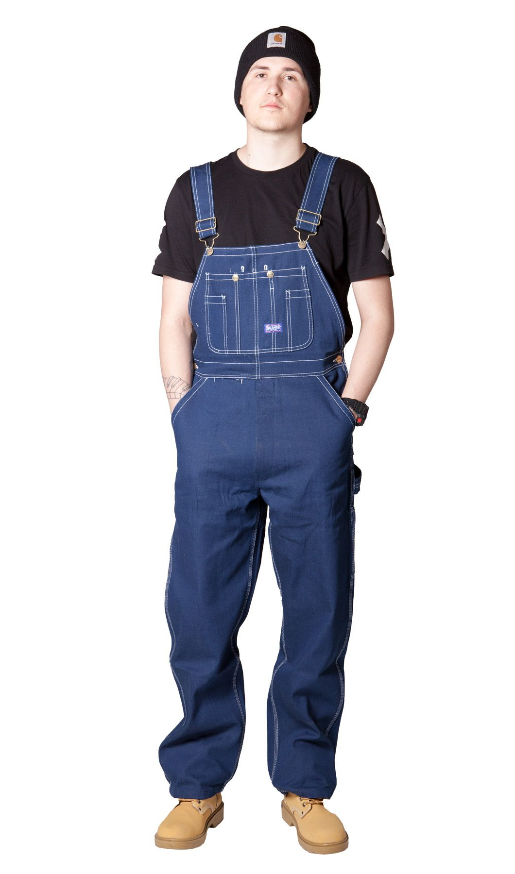 Classic big smith indigo loose fit mens dungarees made of