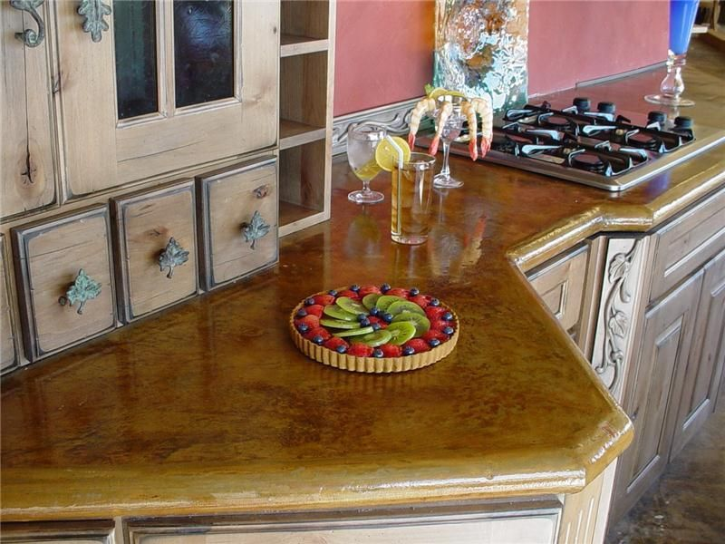 Excellent Color Detailing On This Concrete Countertop Brings This Kitchen To Life Advanced Concrete Designs Inc Oklahoma Cit Concrete Design Concrete Countertops Stained Concrete