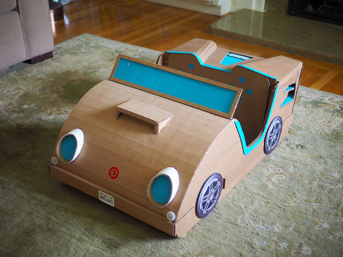 The P-Mobile: Toddler [box] car made with stuff from the recycling