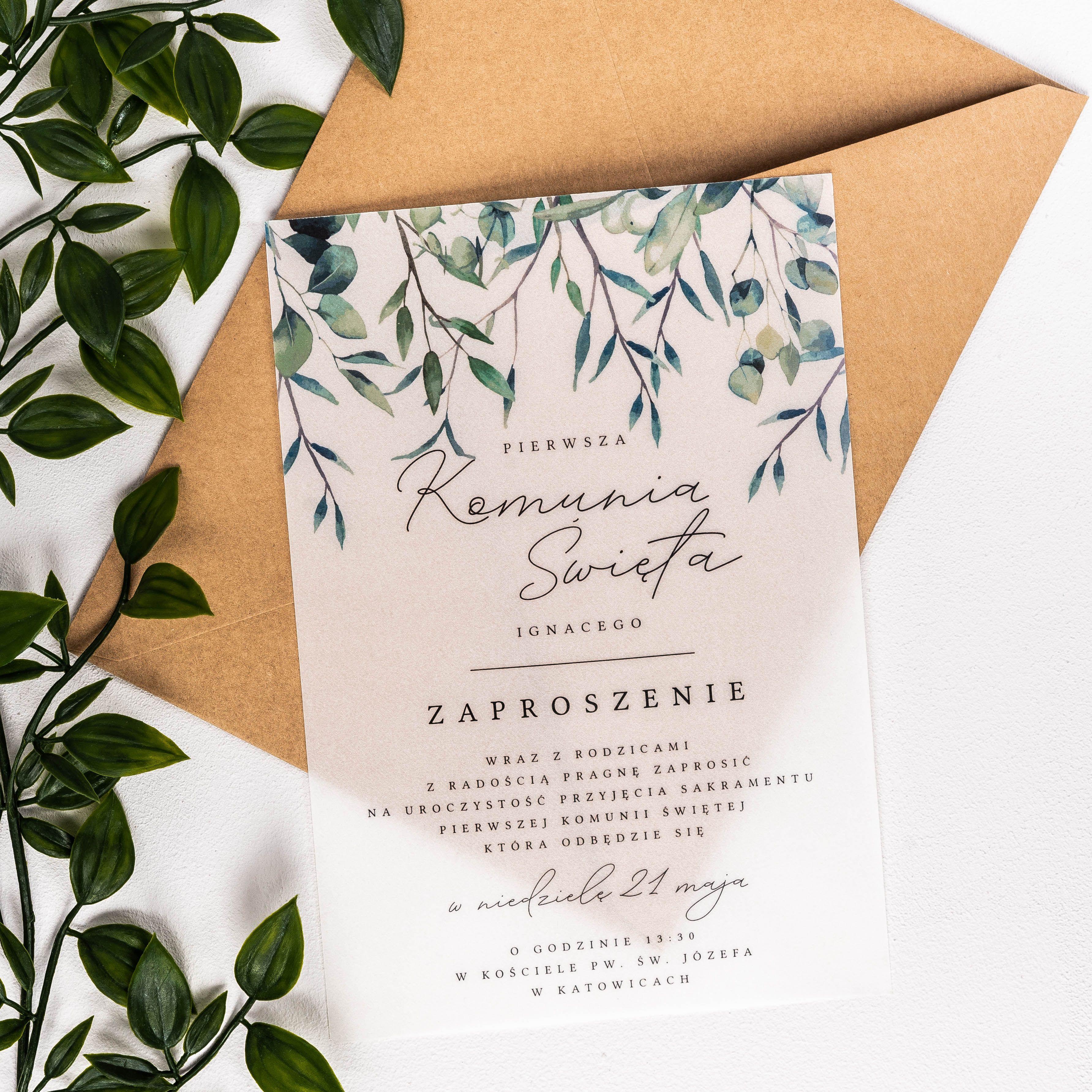 Zaproszenia Komunijne Personalizowane Galazki Kalka 14x19 5 Cm Flowers Diy