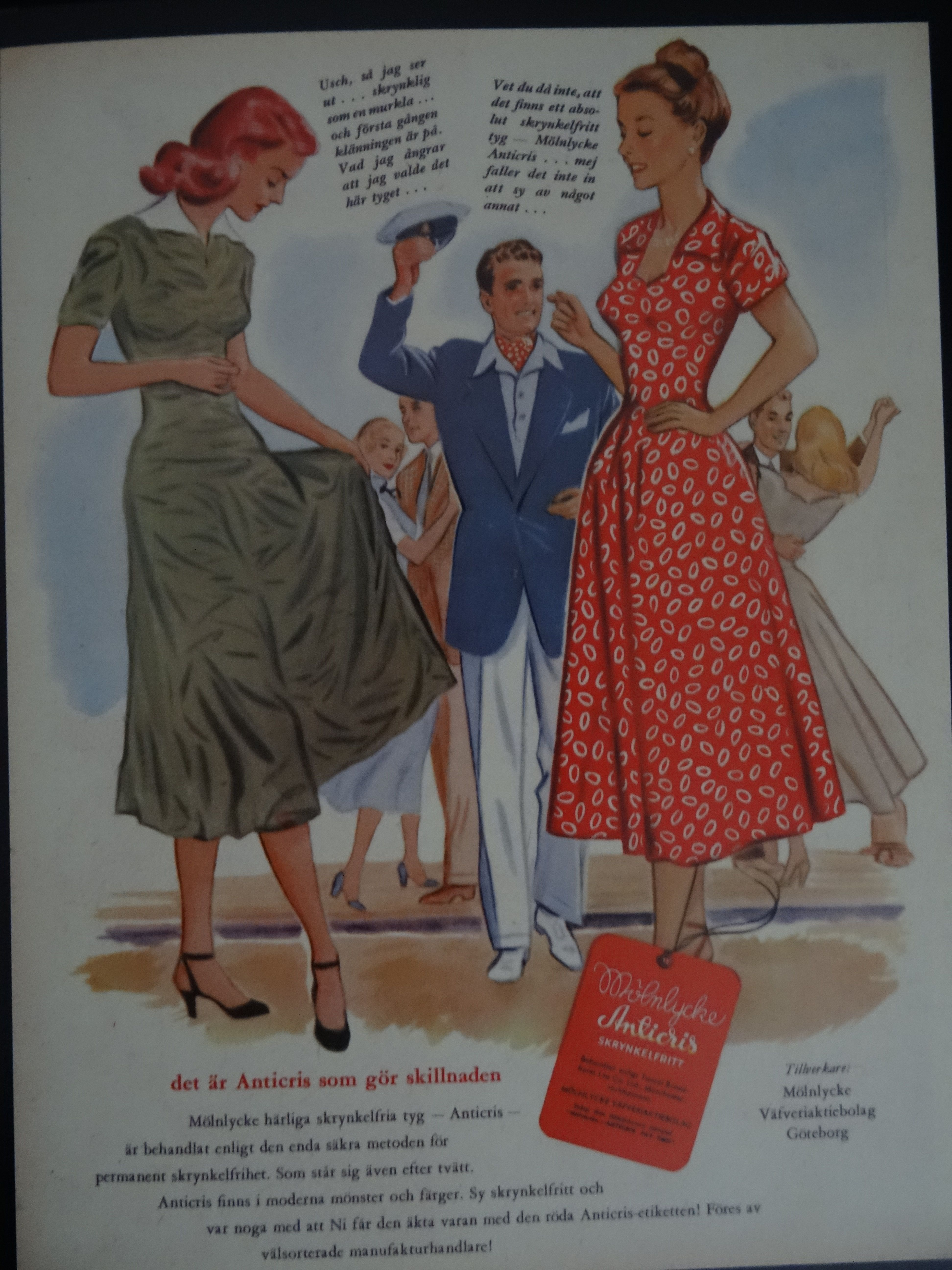 Molnlycke Anticris I Molnlycke Vafveriaktiebolag Goteborg I 1949 Summer Dresses Fashion Dresses