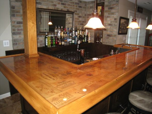 Genial Private Pub, I Built The Wet Bar Out Of Recycled Wine Crate Tops That I  Bought Online, And I Used Thin Brick To Give The Back Of The Bar An .