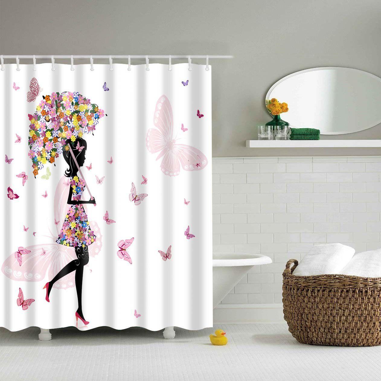 Fairy Girl With Umbrella Shower Curtain Bathroom Decor Fabric