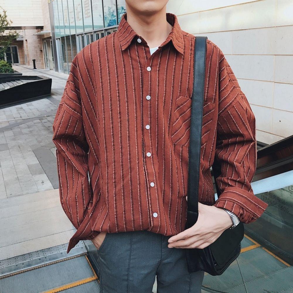4 Spring Korean Men Fashion Casual Loose Vertical Stripe Cotton