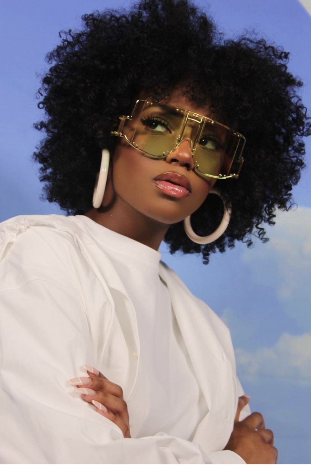 Women Luxury Retro Square Rimless Oversized Sunglasses In 2020 Black Girl Aesthetic Black Beauties Natural Hair Styles