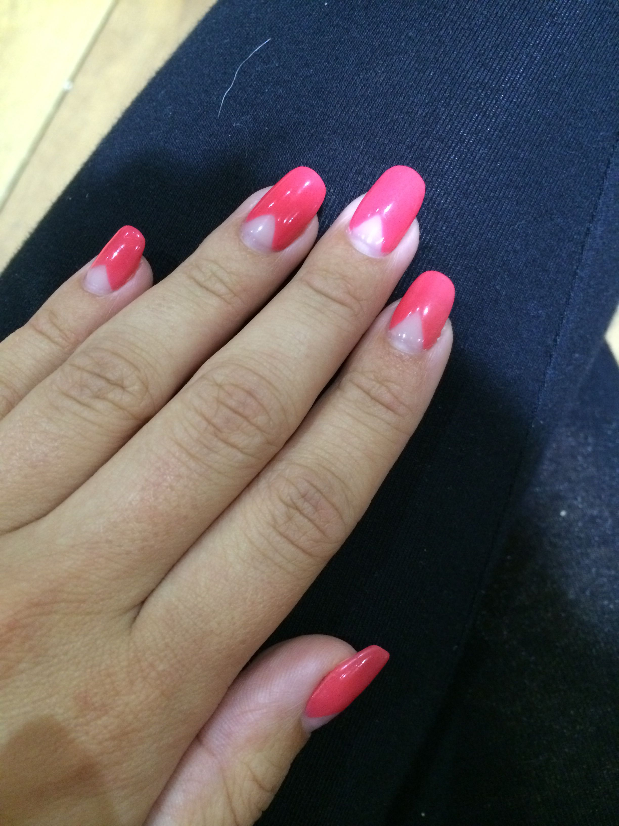 Neon pink gel nails with clear triangle at the bottom, really cute ...
