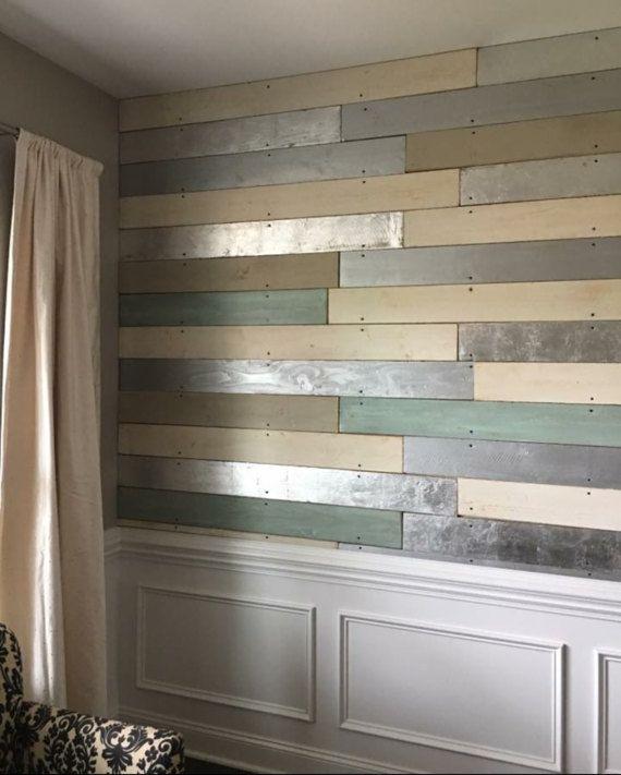 Wood Accent Wall Bedroom Ideas: Metallic Wood Plank Wall