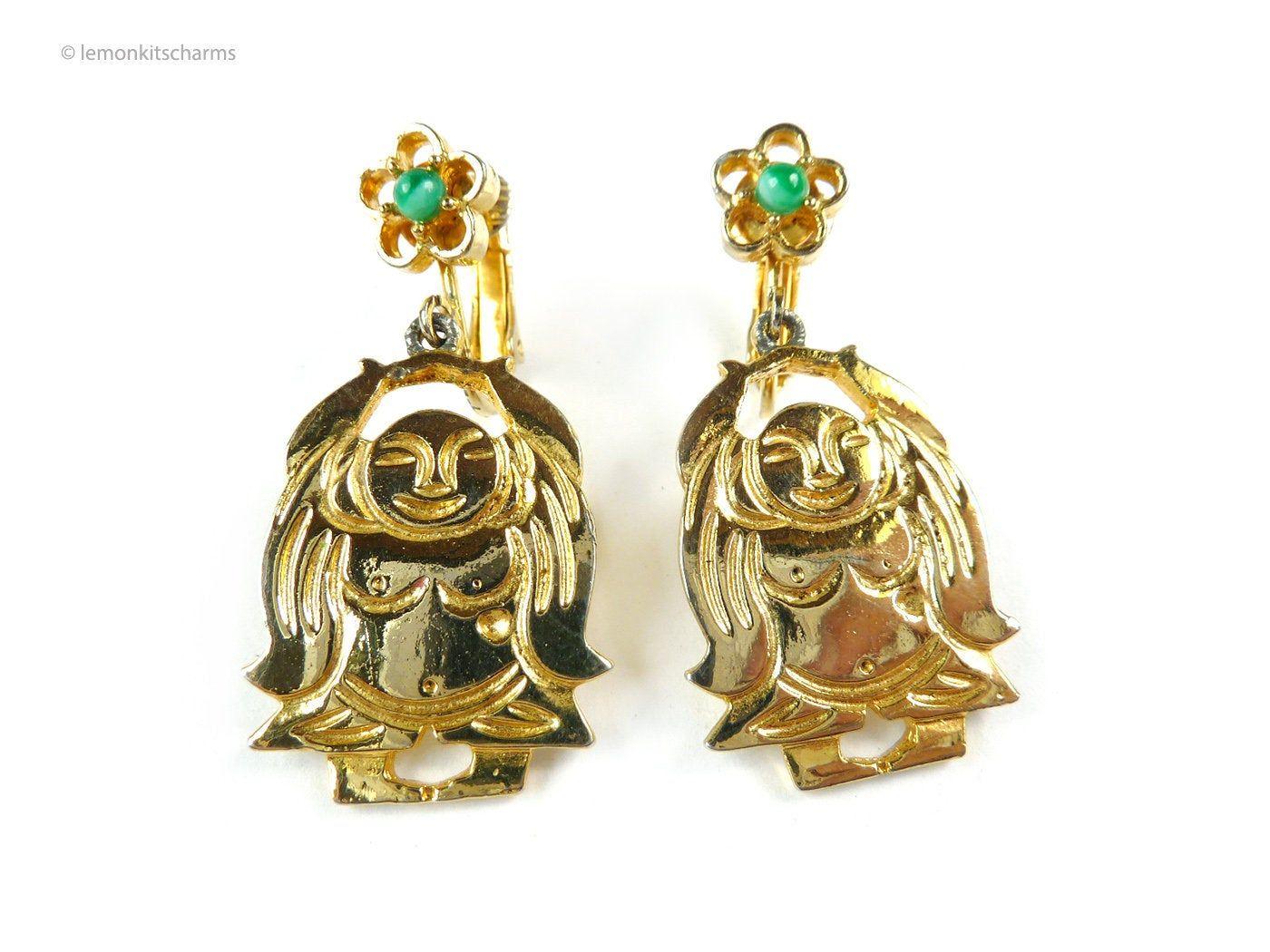 Vintage 1960s to 1970s Copper Screw Back Earrings Non Pierced Dangle Butterflies Retro Mid Century