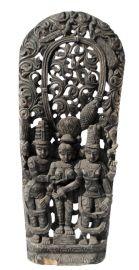 Ancien Panneau bois sculpté statue hindoue 152 cm-60 Art Asiatique-Nepal-Inde