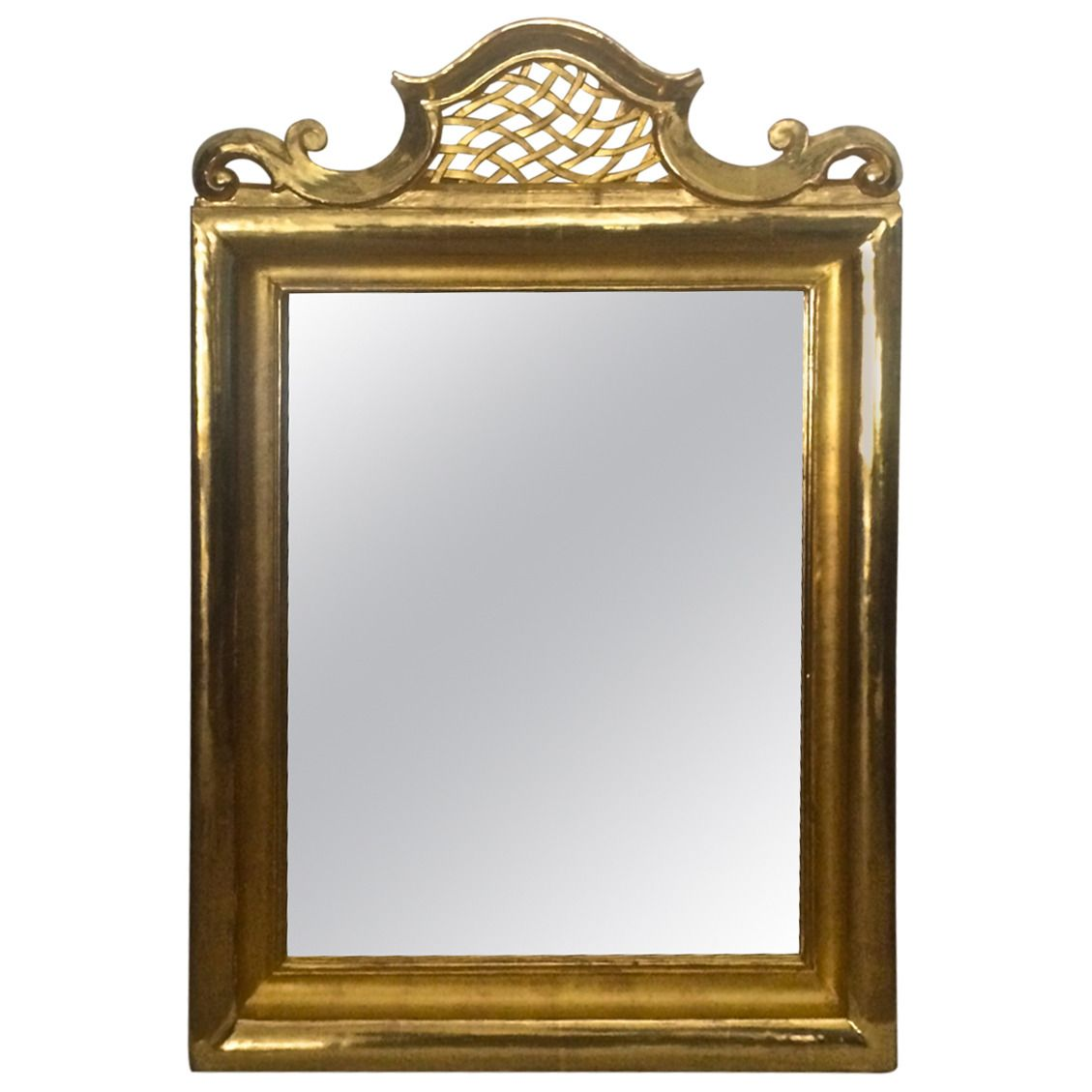 Jean Charles Moreux Superb Neo Classic Gold Leaf Carved Mirror | From a unique collection of antique and modern wall mirrors at https://www.1stdibs.com/furniture/mirrors/wall-mirrors/